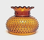 Click here to enlarge image and see more about item 83453: Hobnail Amber Glass Student Lamp Shade Globe Crimped