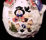 Click to view larger image of Snowman Christmas Cookie Jar Let It Snow Ceramic Gold Gilt (Image4)