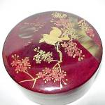 Click to view larger image of Love Birds Oriental Round Marroon Lacquered Box Vintage (Image1)