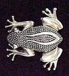 Click to view larger image of Elegant Silvertone Frog Pin Figural Silverplate Brooch (Image1)