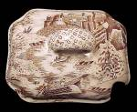 Click to view larger image of Brown Transferware Condiment Jar Dish Sugar Bowl Lid (Image1)