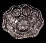 Click here to enlarge image and see more about item 85427: Floral Pressed Glass 11 in Serving Salad Bowl Vintage