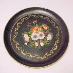 Isco Floral Hand Painted Pressed Wood Plate Round Tray