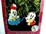 Click here to enlarge image and see more about item 85653: 1998 Hallmark Christmas Tree Ornament Make Believe Boat Baby Mickey