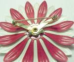 Click to view larger image of Red White Floral Pin Brooch Enameled Enamel Vintage (Image2)
