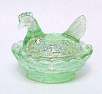Click here to enlarge image and see more about item 86135: Hen on Nest Chick Salt Dip Cellar Green Carnival Glass