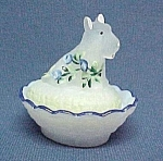 Click here to enlarge image and see more about item 86165: Scotty Scottie Dog Hand Painted Glass Salt Dip Cellar