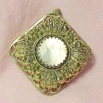 Click here to enlarge image and see more about item 86312: Mother of Pearl MOP Pin Brooch Pendant Ornate Germany