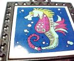 Click to view larger image of Holt Howard Seahorse Sea Horse Tea Tile Trivet Castiron Cast Iron (Image6)