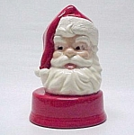 Click here to enlarge image and see more about item 86394: Musical Ceramic Santa Claus Head Christmas Music Box