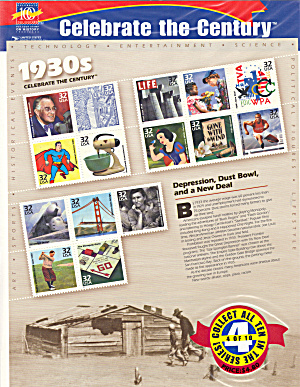1930s Celebrate the Century USPS collector stamps (Image1)