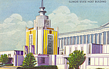 A Century of Progress 1933 Ilinois State bldg postcard (Image1)