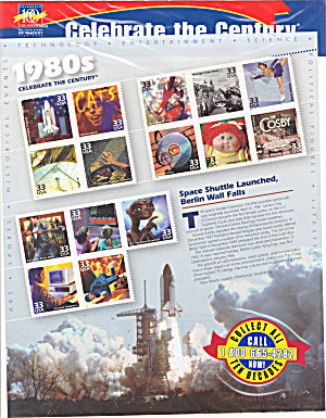 1980s Celebrate the Century USPS collector stamps (Image1)