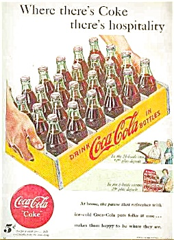 1948  5 CENT BOTTLES OF COCA COLA AD SHEET (Image1)