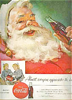 1955 Santa An Coca Cola Ad Sheet