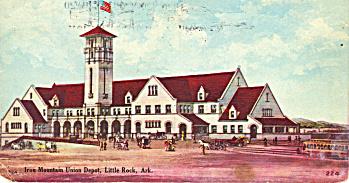1911 postcard Iron Mountain Union Depot, Little Rock (Image1)