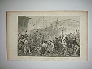 Civil War Steel Engraving 1866 attack at Baltimore (Image1)