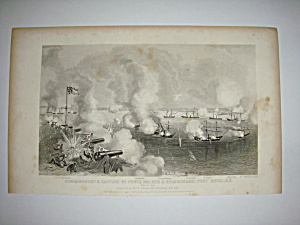 Civil War Steel Engraving 1866 Bombardment of Forts (Image1)