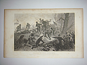 Civil War Steel Engraving 1866 Charge of Fort Donelson (Image1)