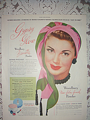 Esther Williams For Woodbury Powder 1946 Vintage Ad