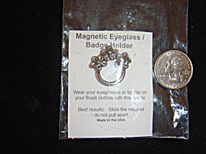 Silvertone Magnetic Eyeglass Or Badge Holder (No Pin)