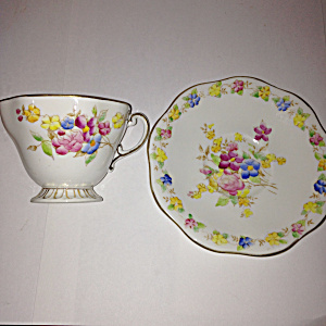 Foley Eb&co Porcelain Floral Footed Teacup And Saucer Y