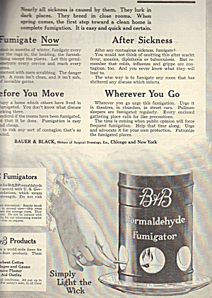 B&b Formaldehyde Fumigator Ad 1917 Medical Quackery