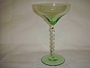 Green tint glass stemware with twisted stem (Image1)