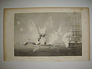 Civil War Steel Engraving 1866 First Naval Combat (Image1)