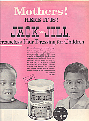 Vintage Ad Jack And Jill Greaseless Hair Dressing