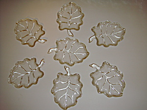 Set Of 7 Small Leaf Shaped Clear Glass Dishes