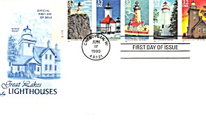 First Day Cover FDC Great Lakes Lighthouses 1995 (Image1)