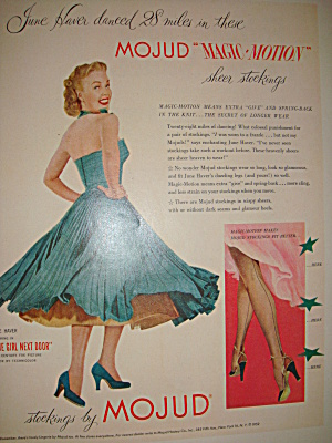Mojud Sheer Stockings Vintage Ad Featuring June Haver