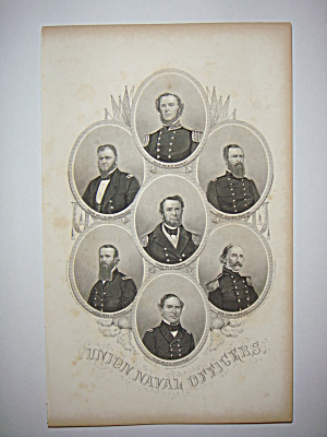 Civil War Steel Engraving 1866 Union Naval Officers (Image1)