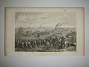 Civil War Steel Engraving 1866 Roanoke landing (Image1)