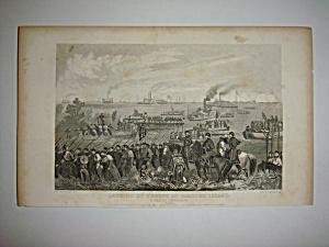 Civil War Steel Engraving 1866 Roanoke landing (Image1)