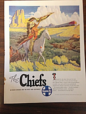 Vintage Ad for Santa Fe railroad American Indian Chief (Image1)