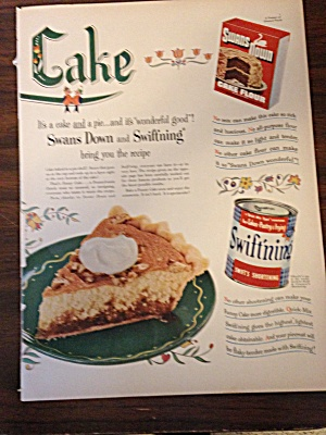 Vintage Ad Swans Down Flour And Swiftning Shortening