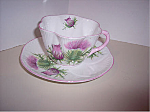 Shelley Thistle Cup And Saucer, Dainty Shape