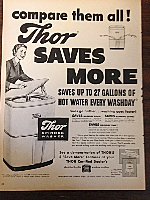 Vintage Ad For Thor Spinner Washer 1950