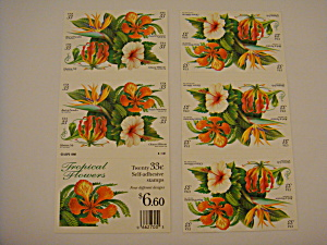 Tropical Flowers Collectible Usps Stamps