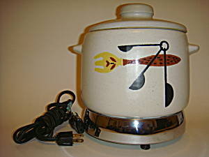 Vintage 50s-60s West Bend Bean Pot With Hot Plate