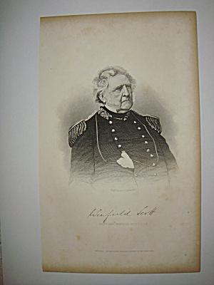 Civil War Steel Engraving 1866 Winfield Scott (Image1)