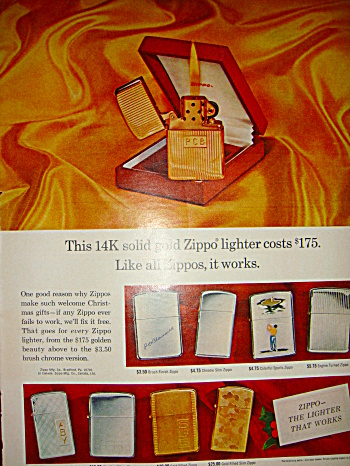 Zippo Lighter Ad From 1965 - Solid Gold