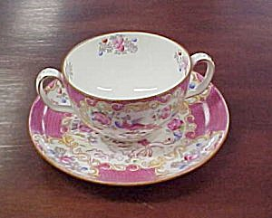 Minton  Cockatrice  (Pink) Bouillon Cup & Saucer (Image1)