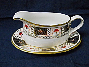 Royal Crown Derby - Derby Border Gravy Boat & Stand