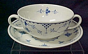 Furnival Denmark Cream Soup Bowl & Saucer