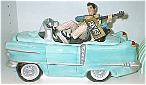 Elvis In The Blue Car Vandor Cookie Jar