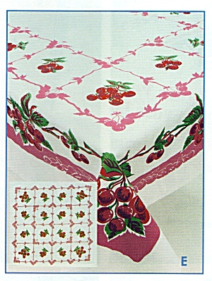 Vintage Pattern Cherry Tablecloth w/Holder (Image1)
