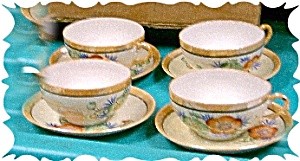 Japanese Lustreware Cups And Saucers